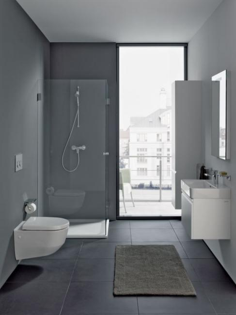 Simple Laufen Pro bathroom with wall-hung toilet