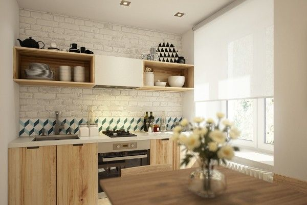 Open shelving gives just enough space for dishes for two.