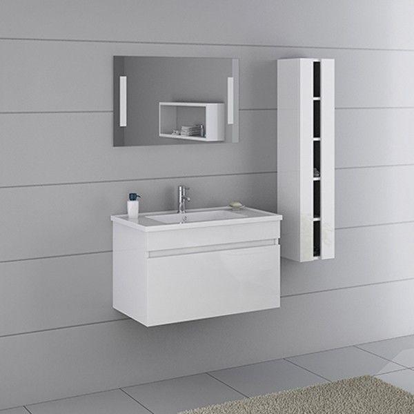 cet ensemble de meubles de salle de bains blanc compos dun meuble sous vasque - Une Salle De Bain Est Equipee Dune Vasque