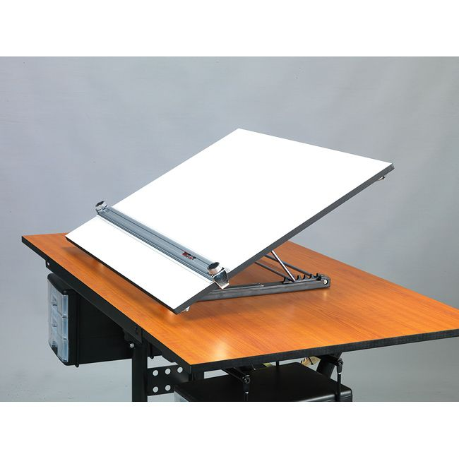 From the Ad: Transform any ordinary table into a professional work space with this six-position adjustable drafting board. Constructed of durable wood and steel, this portable drafting table is ideal at home, at the office, or at a client meeting.