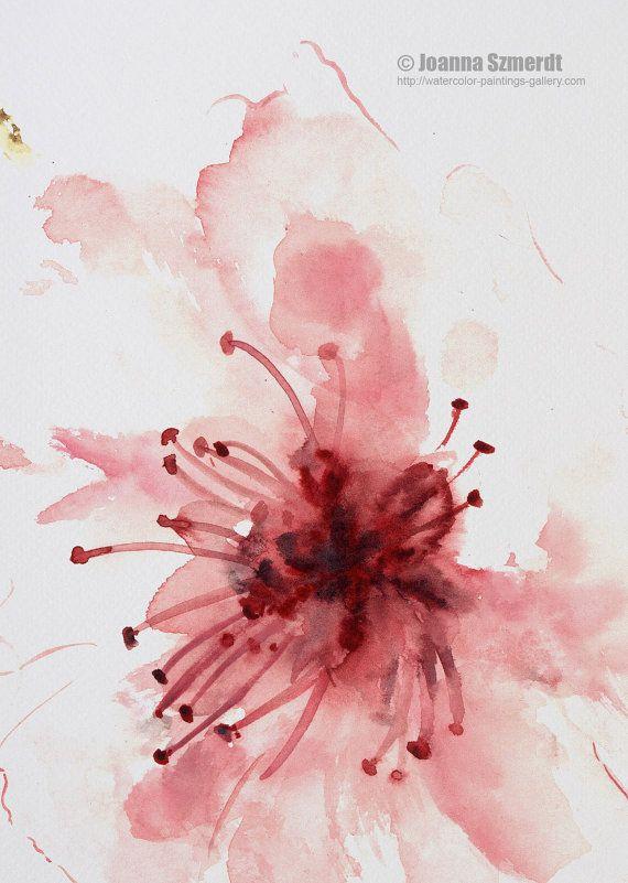 Impresión de arte acuarela flor de cerezo flor pared arte