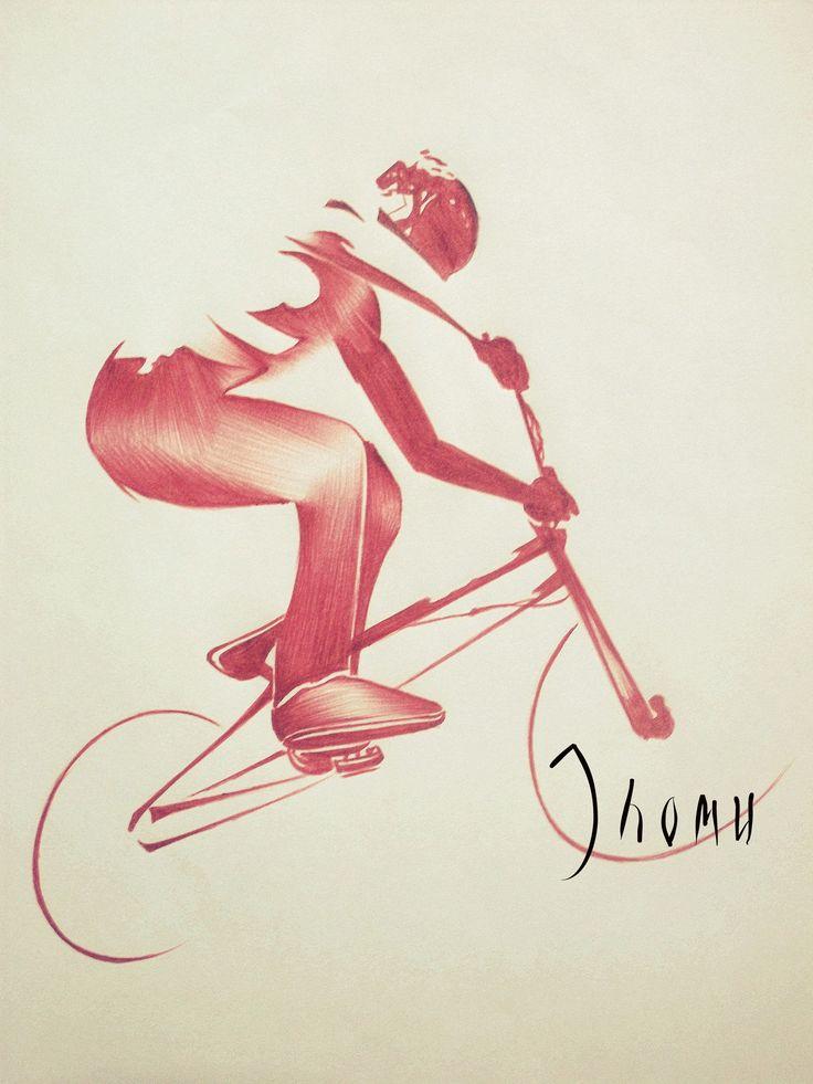 """Diseño de cuaderno """"Hombre en Bici"""" Bolígrafo Bic Rojo 29*21cm"""
