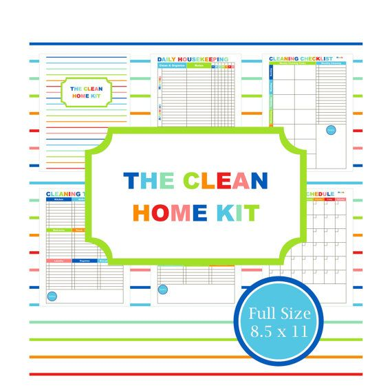 CLEAN HOME KIT, cleaning, schedule, planner, printable, to do list, mom planner, chore chart, organizing, housekeeping, Full Size, 8.5 x 11