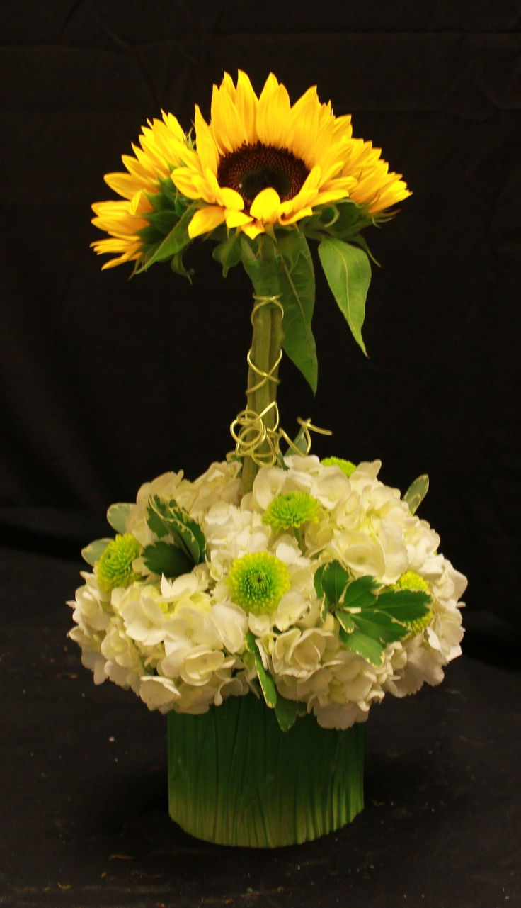Sunflower hydrangea arrangement with maybe some blue