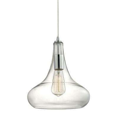 Von The Home Depot · 1 Light Polished Chrome Glass Pendant With Vintage  Bulb Included