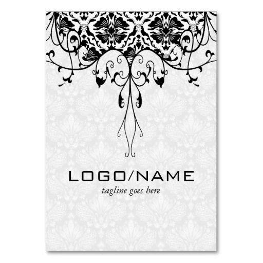 Elegant Black On White Look Vintage Floral Damasks Business Cards