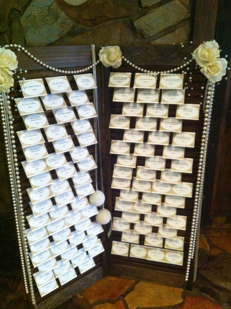 Guest Seating Chart Using Old Shutters Wedding Details