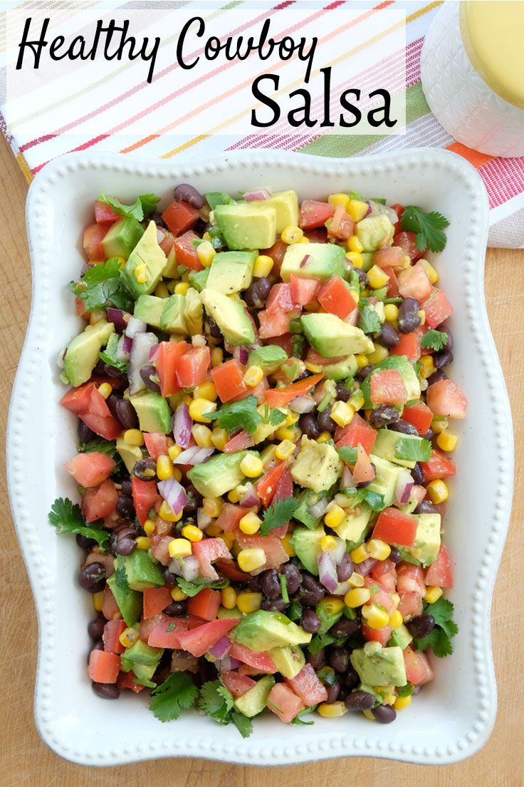 Healthy Cowboy salsa contains no sugars or even that oily dressing most people add. You won't even notice it's missing! This needs to be on repeat for your summer BBQ's. | healthy salsa recipes | healthy appetizer recipes | homemade salsa recipes | easy h