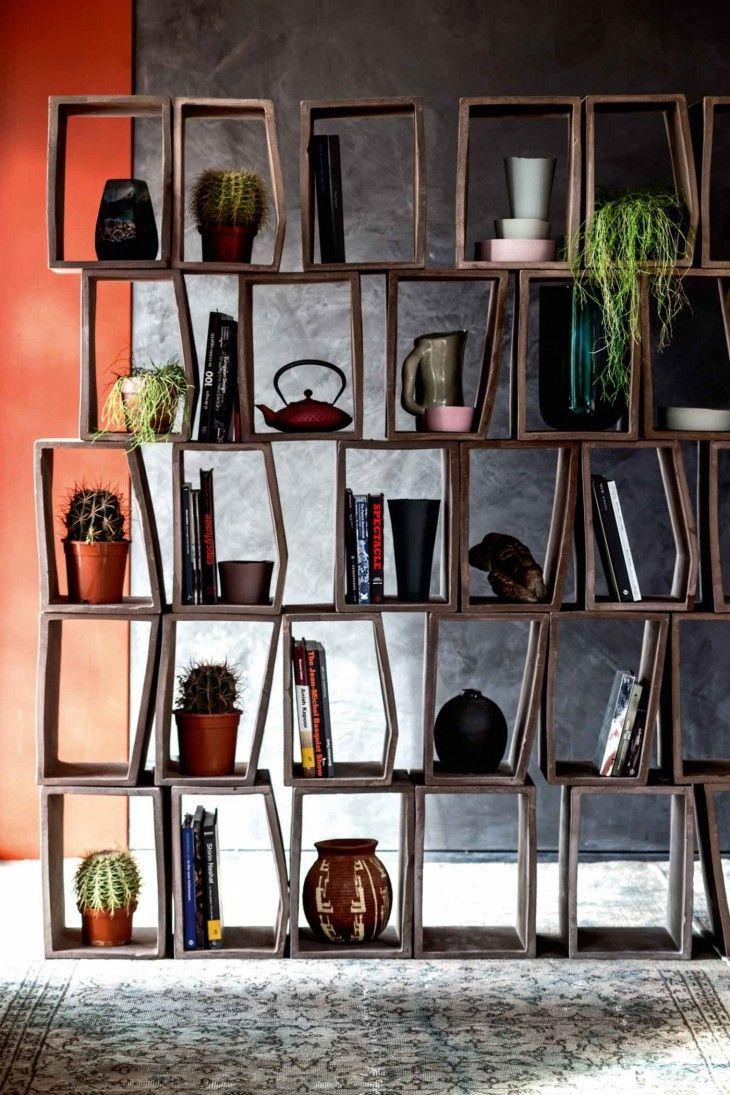 Home of Patrizia Moroso by Designer Patricia Urquiola  Put books in half and plants in the other half.