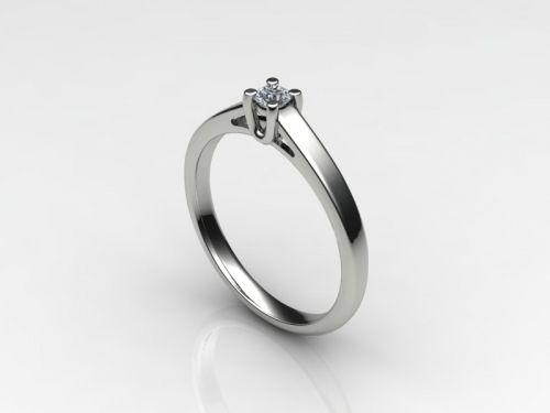 """anello solitario in oro bianco 750/1000(18 kt) modello """"tulipano""""con n.1 diamante taglio brillante di ct.0,10"""