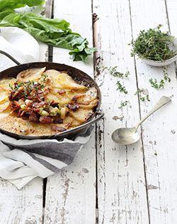 Potato,Spinach and bacon gratin