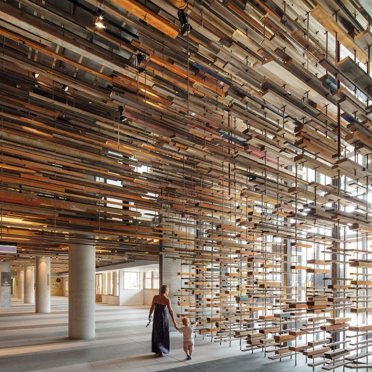 """March Studio created Hotel Hotel lobby and bar by recycling """"thousands of pieces of timber""""."""
