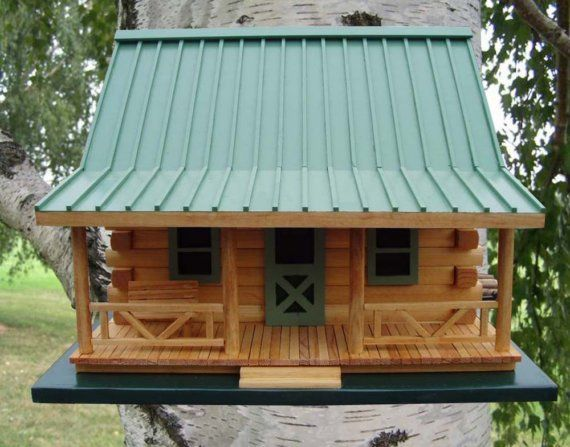 Log Cabin Birdhouse by quilterskeepers on Etsy