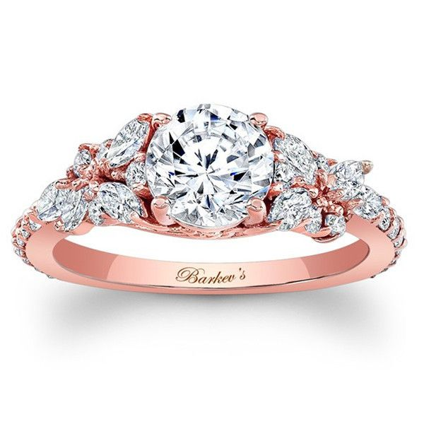 """Barkev's 14K Rose Gold Diamond Encrusted """"Petal"""" Engagement Ring With 0.32 Carats Marquise Cut Diamonds and 0.32 Carats Round Diamond Style 7932LPW"""