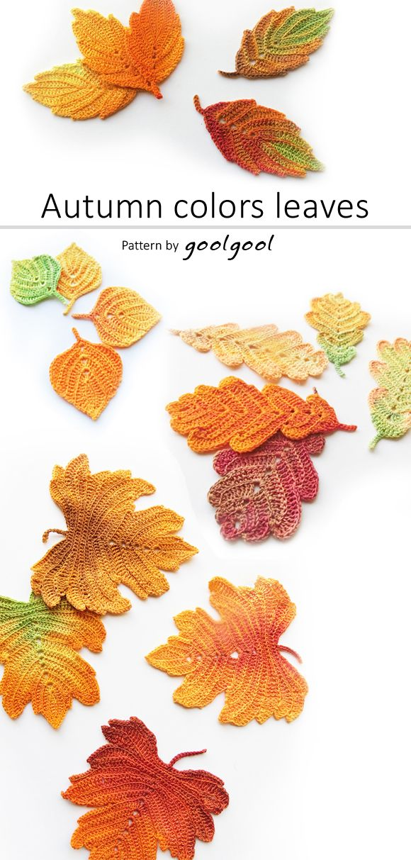 Crocheted with an all white thread, and colored after they are finished using fabric dye. This allows for endless color combinations. Once colored, these crochet leaves can almost look real...