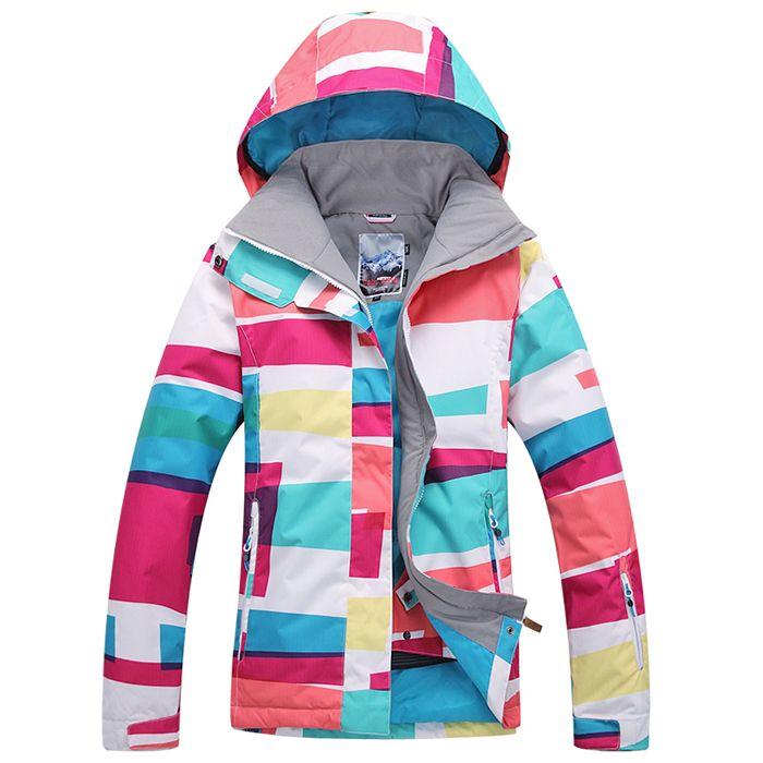 Бесплатная доставка Gsou снег лыжный костюм женский зимний сноуборд лыжная куртка женщины водонепроницаемый ветрозащитный лыжные куртки женские спортивные костюмы