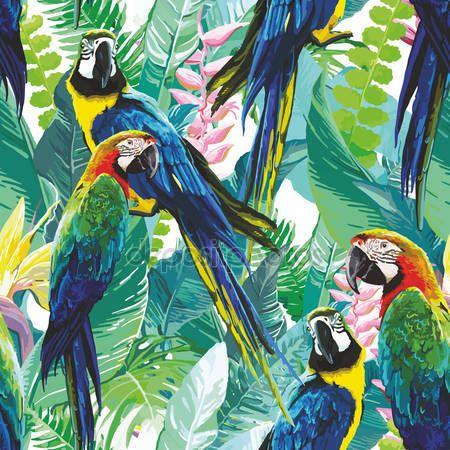 İndir - Renkli papağan ve egzotik çiçekler - illüstrasyon Stok # 99049454