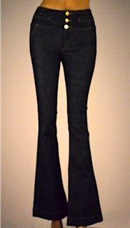 Jeans talle alto bota ancha hebilla espalda $139.990