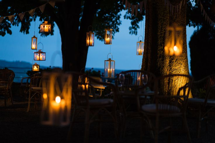 Lanterns in the trees on our wedding day at Villa Nozzole. Tuscany, Italy