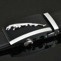 Wish | 2016 Fashion Mens Genuine Leather Belts Alloy Automatic Buckle Belts Ceinture Buckle Jaguar Belts for Men