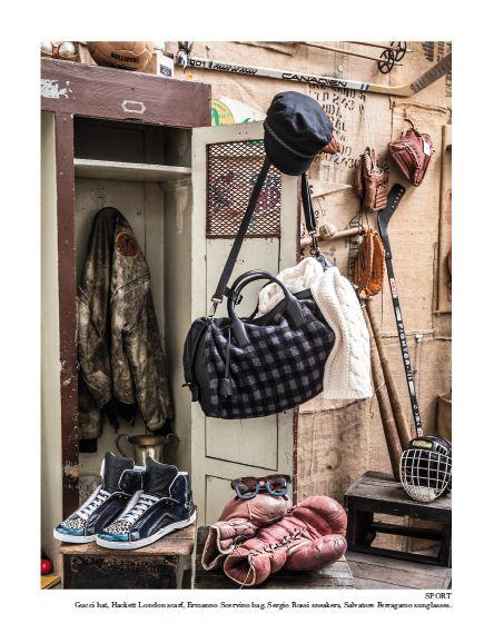 From our editorial: MALE PLEASURES - Sport. @gucci #hat, @hackettlondon #scarf, @ermannoscervino #bag, #SergioRossi #sneakers, @ferragamo #sunglasses #man #male #bookmoda #fashion #style #look #manfashion #man-fashion