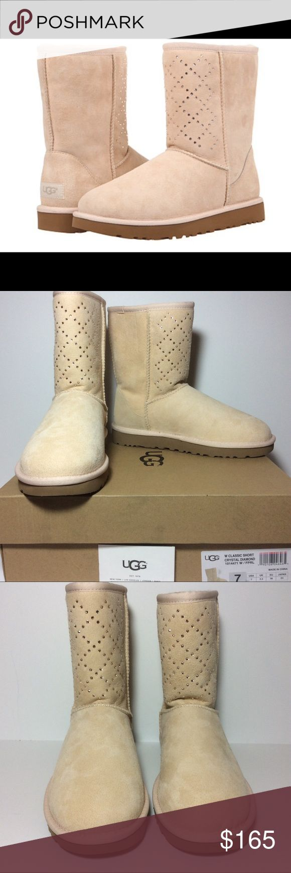 NIB UGG Classic Short Crystal Diamond Boot Pearl 7 NIB $265 UGG® Classic Short Crystal Diamond Boot Freshwater Pearl Sz 7  Original surf boot boasts genuine twin-faced sheepskin and embellished with diamond patterned SWAROVSKI® crystal motif.  Fully lined in luxurious, UGGpure™ wool. UGGpure delivers a plush sensory experience with every wear.  Generously cushioned footbed is lined in UGGpure™ wool for breathability and warmth. Heel Height: 1 in Circumference: 14 in Shaft: 8 in Platform…