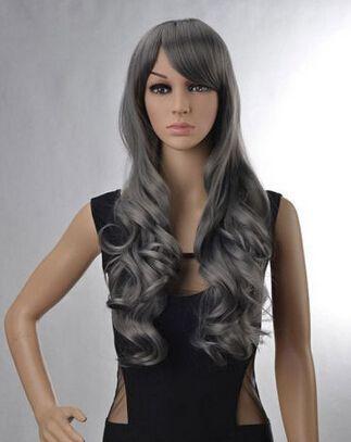 Bjc 002061 новых женских леди грей полный парик волнистые длинные волосы парики аниме костюм косплей