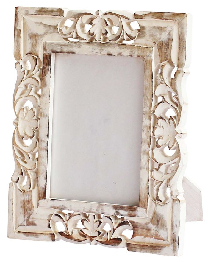 Bulk Wholesale Handmade White Picture Frame / Photo Stand in Mango-Wood with Intricate Carving in Traditional Floral Pattern – Distressed-Look Decor