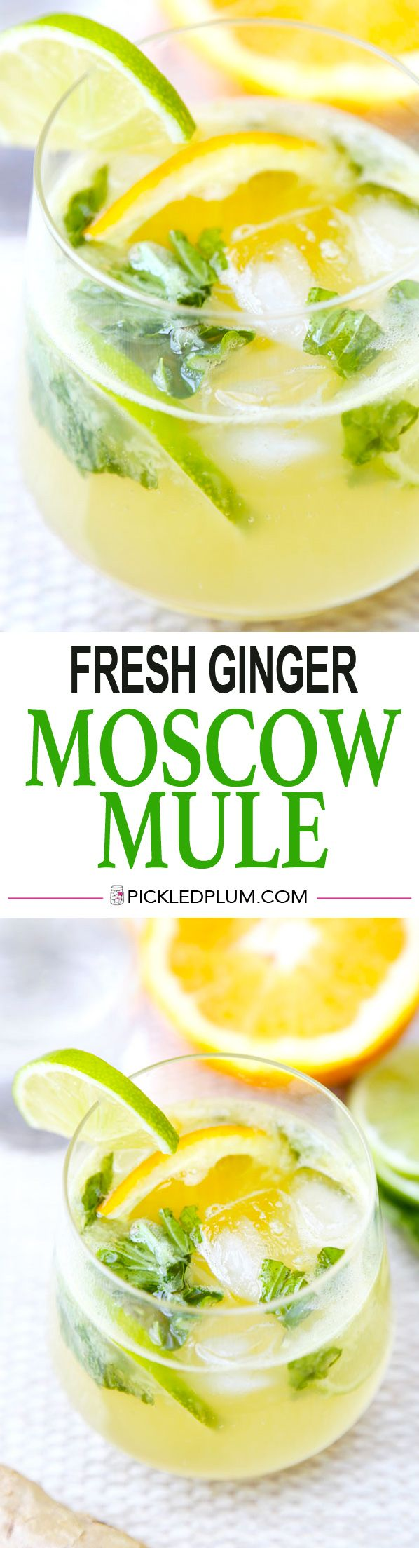 Fresh Orange and Ginger Moscow Mule with Muddled Basil. A healthier version of the classic - Delightfully Refreshing! Vegan - Gluten-Free Recipe