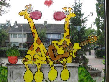 Raamschildering giraf