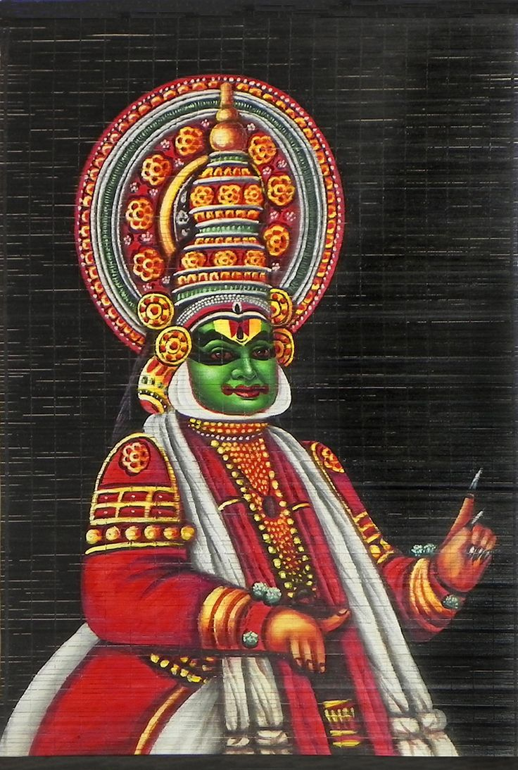 Kathakali Dancer Depicting Arjuna - (Wall Hanging) (Painting on Woven Bamboo Strands)