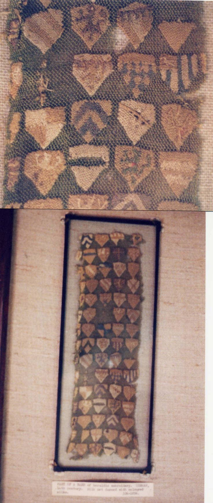 Part Of A ? Of Heraldic Embroidery German, 14th Century Silk Darned