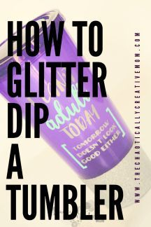 How to glitter dip a tumbler and tape a straight line! Video included.