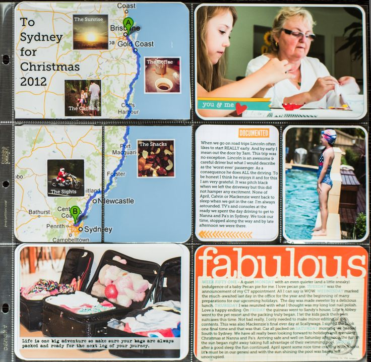 LOVE this Project Life layout - Fabulous map with small inserted photos!!