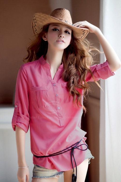 Stand Collar Lively Chiffon Shirt For Women(Without Belt) (ROSE,ONE SIZE) China Wholesale - Sammydress.com
