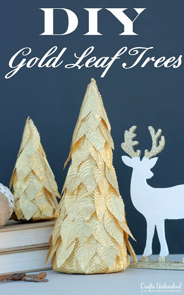 Gold leaf holiday tree decorations