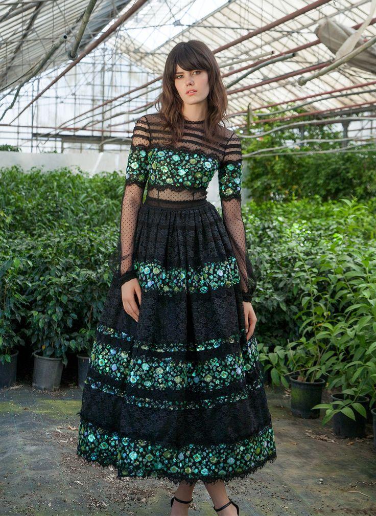 Resort 1752  Long-Sleeve Sequin Lace Ball Gown Dress, Green