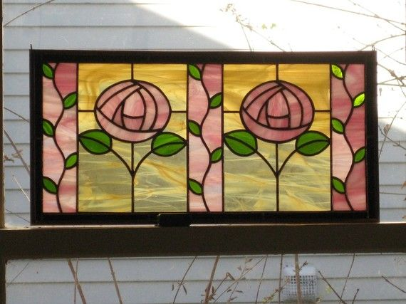 Roses and Vines Stained Glass Panel