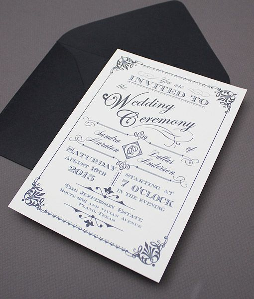 Ornate Vintage Type DIY Wedding Invitation Template You