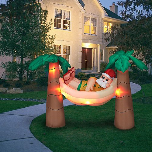 island christmas santa in hammock with palm trees inflatable super tacky yes