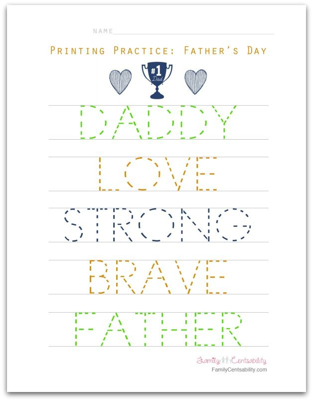 Father S Worksheets : Free printable father s day word practice words