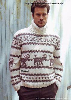 Мужской жаккардовый свитер с оленями (спицы).
