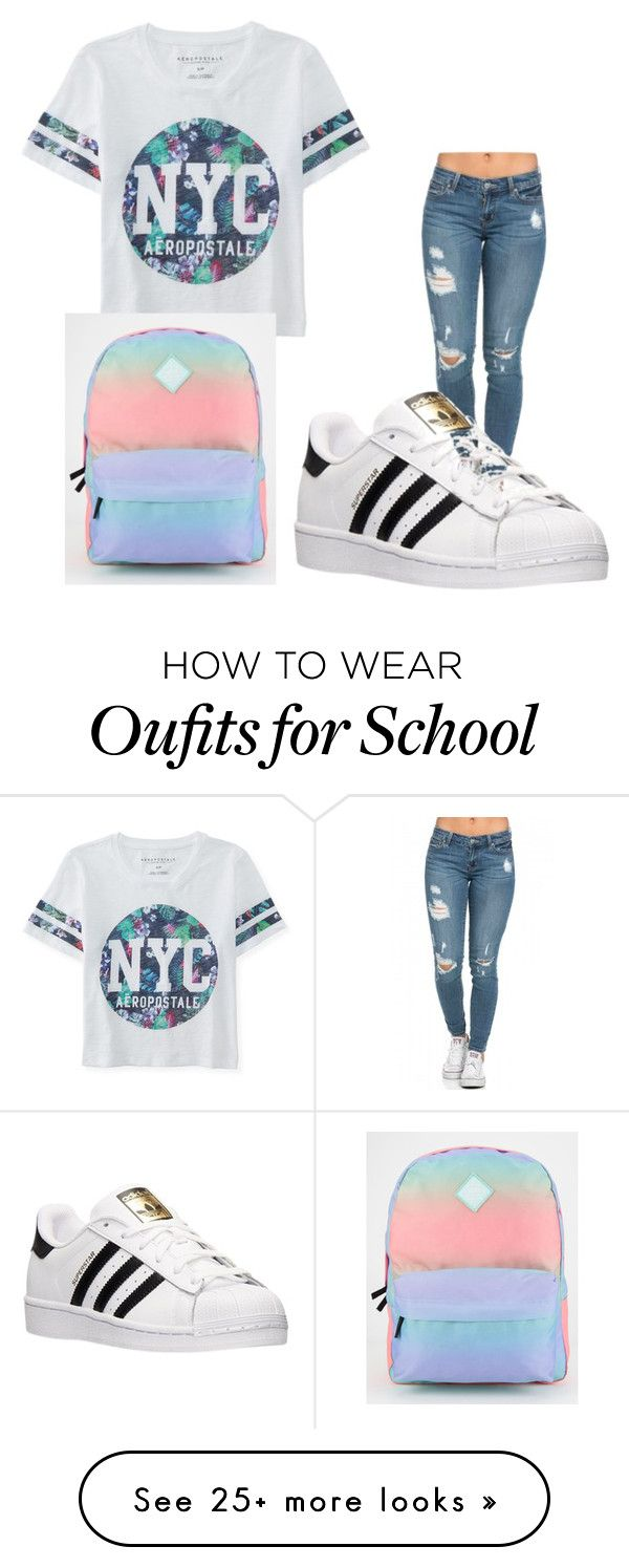 """""""MY SCHOOL STYLE"""" by tyronerice on Polyvore featuring Aéropostale, adidas, Vans, women's clothing, women, female, woman, misses and juniors"""