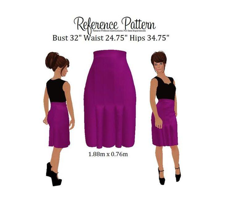 Pleated Business Skirt Purple Pattern | Craftsy