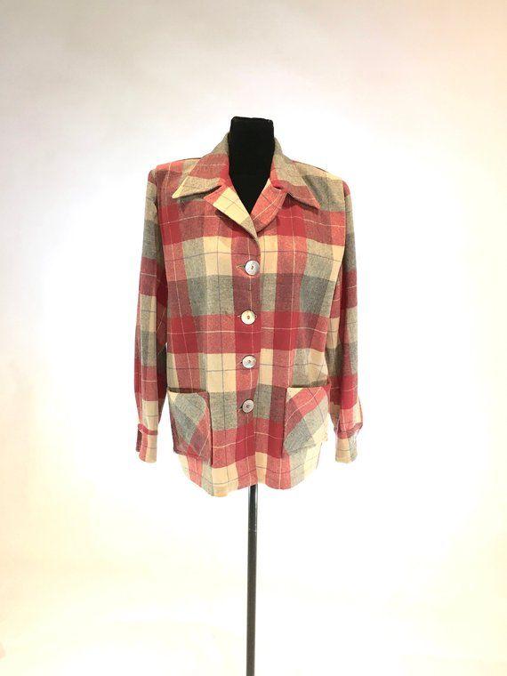 Vintage 1940s50s Red Wool Jacket