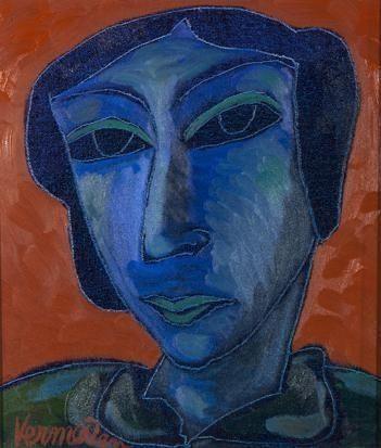 Jan Vermeiren - BLUE FACE, oil on canvas on MutualArt.com