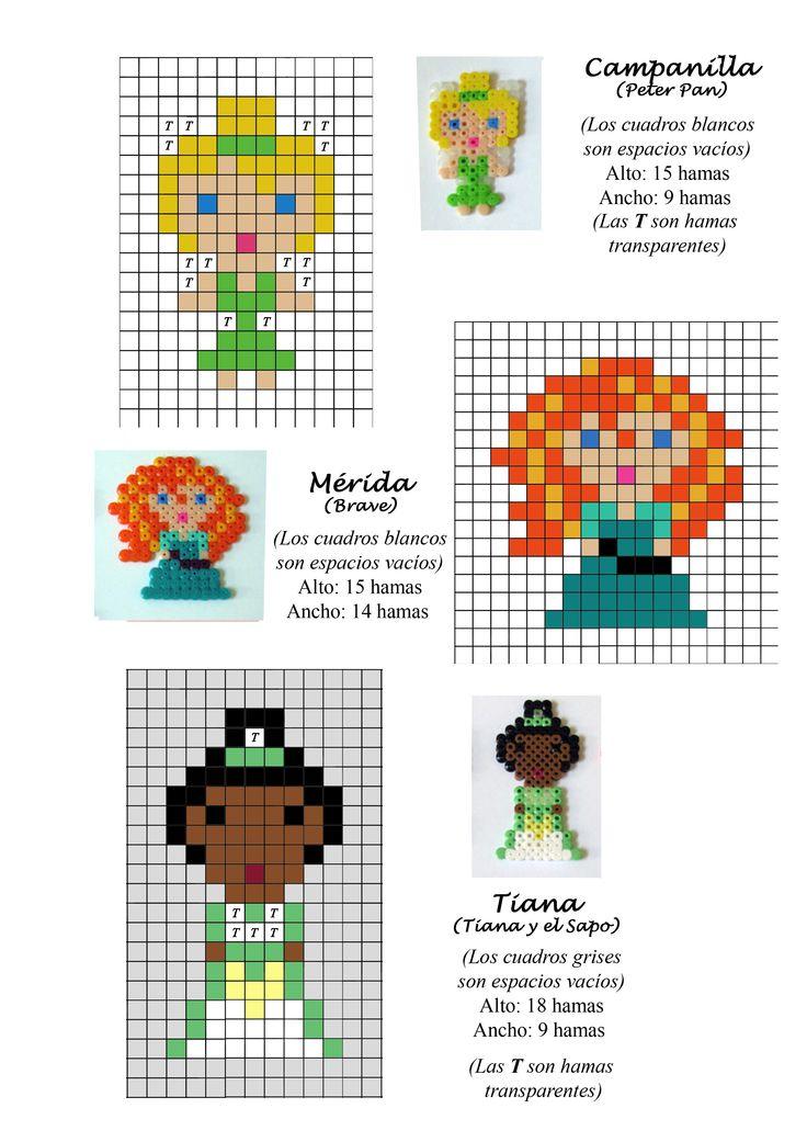 Princesas Disney, Merida, Campanilla, Tiana, hama beads pattern