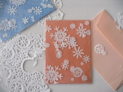 Snowflake cards made from paper doilies by margie