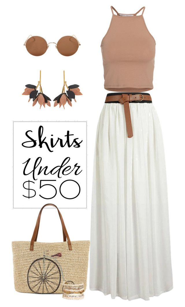 """""""Summer Essentials"""" by patricia-dimmick ❤ liked on Polyvore featuring Marni, NLY Trend, Straw Studios, Panacea, Sunday Somewhere, maxiskirt, longSkirt, under50 and skirtunder50"""
