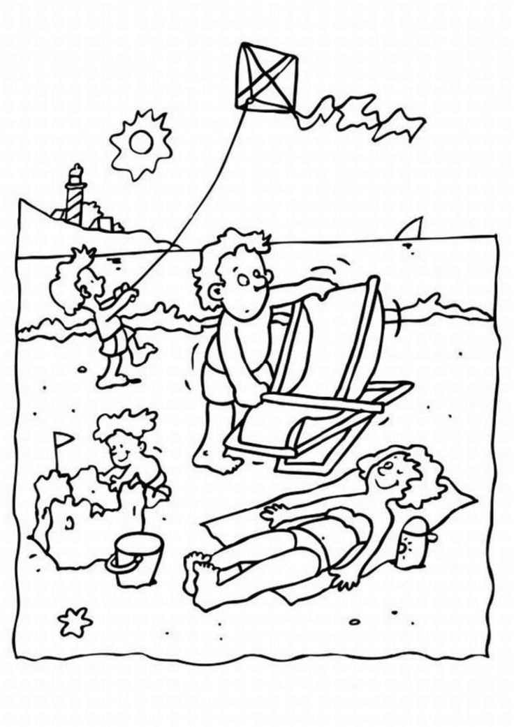 Coloring Page Beach Vacation